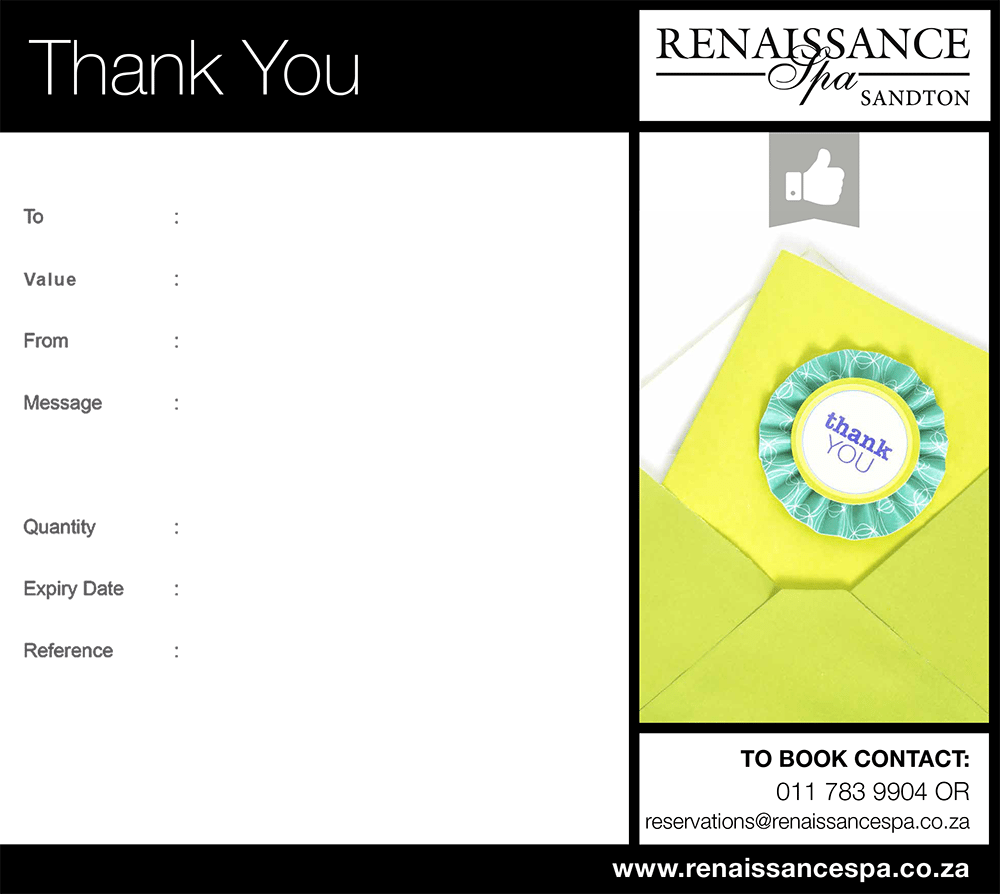 Thank you gift voucher r250 renaissance spa sandton voucher image negle